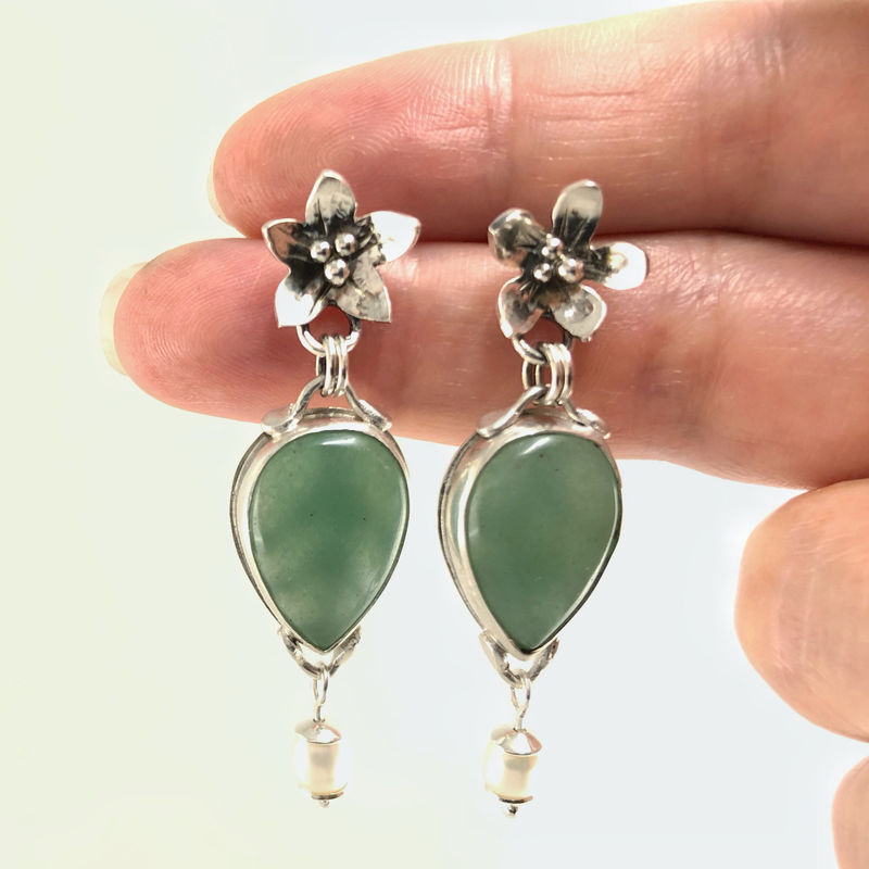 Chrysoprase Earrings, Hand Fabricated Flower Theme, Freshwater Pearl Dangles - product images  of