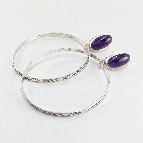 Big Amethyst Hoop Earrings, Hand Fabricated Sterling Silver, Lightweight - product images  of