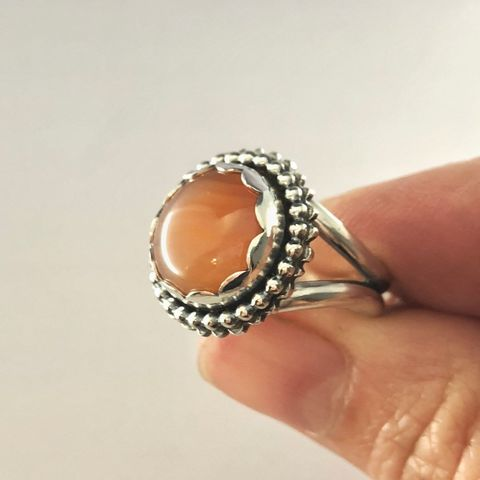 Lake Superior Agate Ring, Orange Sterling Silver Flower Ring Size 6 3/4 - product images  of