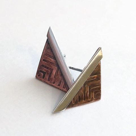 Sterling,Silver,and,Copper,Long,Studs,,Triangle,Mixed,Metal,Earrings,mixed metal earrings, long triangle studs, copper and sterling studs