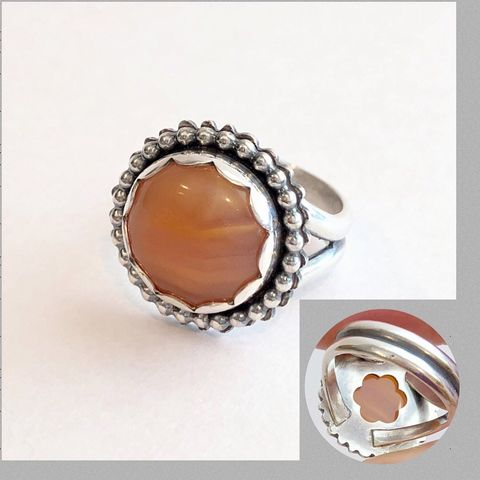 Lake,Superior,Agate,Ring,,Orange,Sterling,Silver,Flower,Ring,Size,6,3/4,orange flower ring, lake superior agate ring, hand fabricated sterling silver flower ring