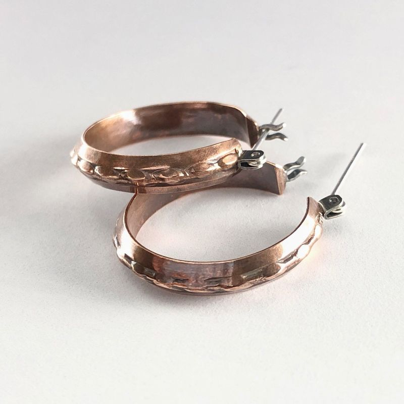 Copper Hoop Earring, Handcrafted Patterned Boho Style with Latch Hinge - product images  of