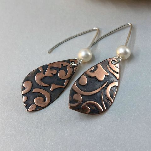 Freshwater,Pearl,and,Copper,Dangle,Earrings,,Scroll,Pattern,,Mirror,Image,June Birthstone, copper earrings, patterned copper, freshwater pearl earrings, handcrafted jewelry