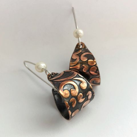 Patterned,Copper,Basket,Hoops,with,Freshwater,Pearl,,Handcrafted,copper basket hoops, patterned copper earrings, handcrafted copper hoops