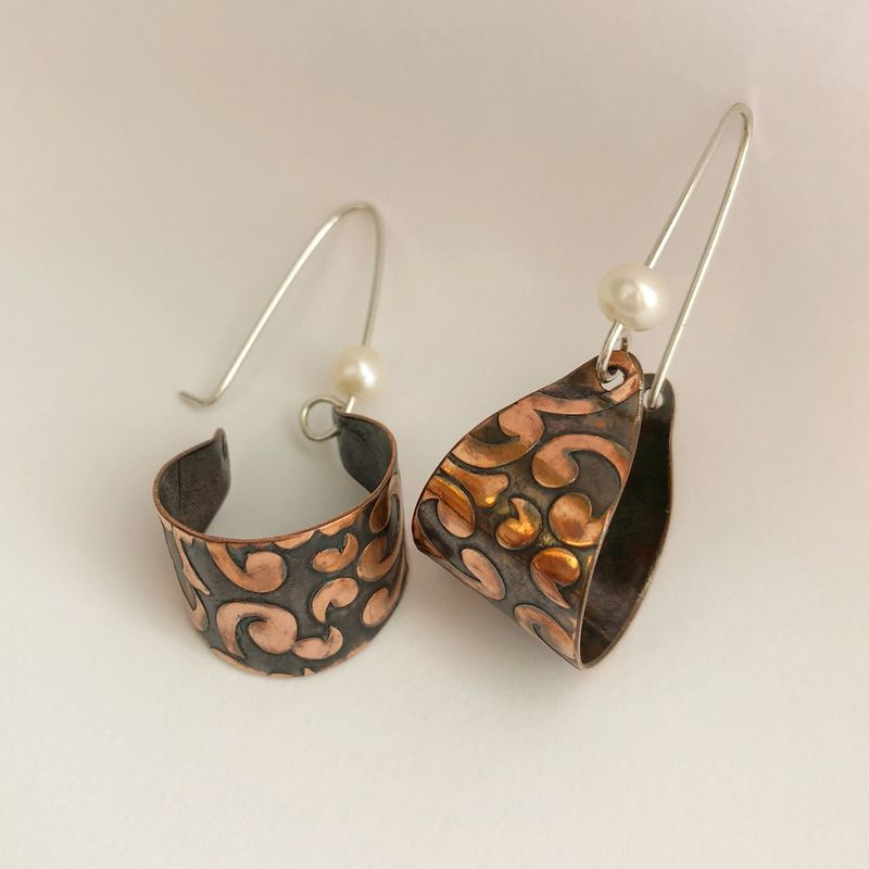 Patterned Copper Basket Hoops with Freshwater Pearl, Handcrafted - product images  of