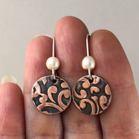 Scroll Pattern Copper Dangle Earrings with Freshwater Pearls - product images  of
