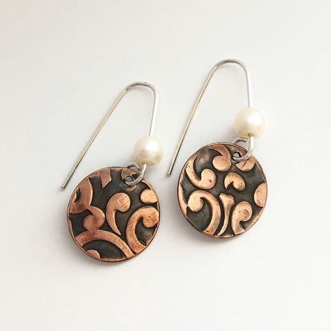 Scroll,Pattern,Copper,Dangle,Earrings,with,Freshwater,Pearls,scroll pattern copper earrings, copper dangle earrings, copper and pearl earrings