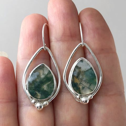 Moss Agate Earrings, Sterling Silver Green Stone Dangles - product images  of