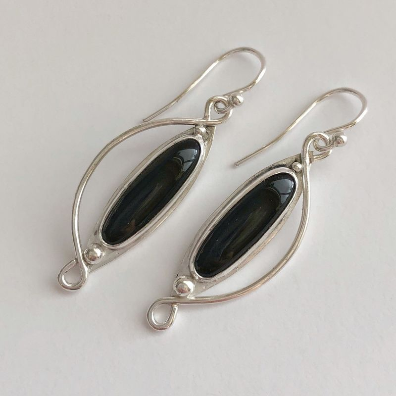 Hand Fabricated Onyx Earrings, Black Stone Dangles - product images  of