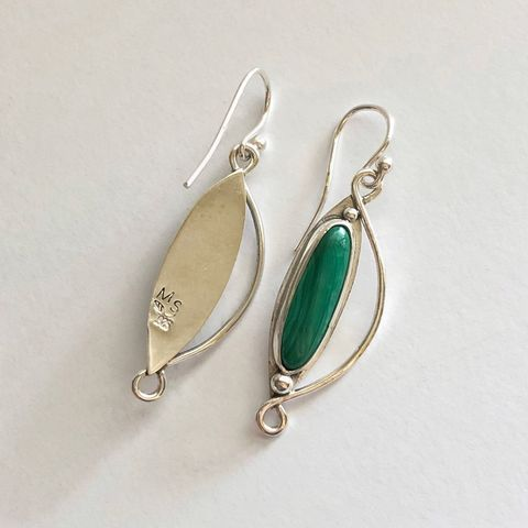 Sterling Silver Malachite Earrings, Hand Fabricated Green Stone Dangles - product images  of