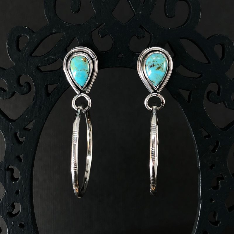 Kingman Turquoise Hoops, Hand Fabricated Sterling Silver Earrings - product images  of