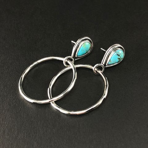 Kingman,Turquoise,Hoops,,Hand,Fabricated,Sterling,Silver,Earrings,kingman turquoise hoops, handfabricated sterling silver earrings, blue stone hoops