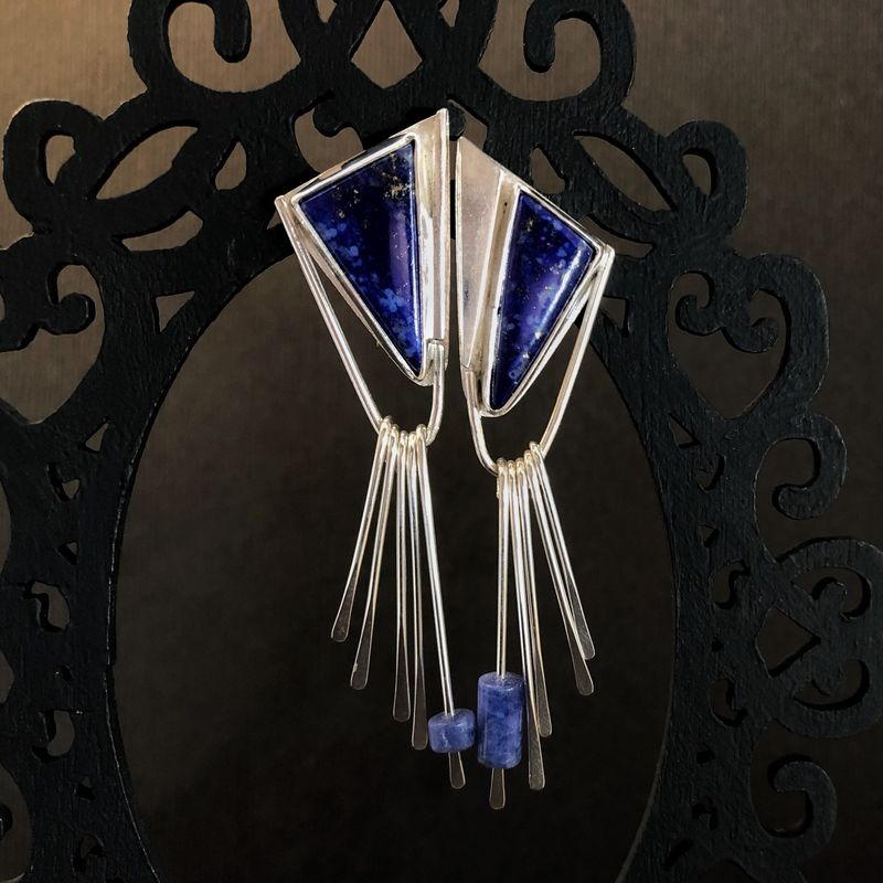 Lapis Lazuli Earrings, Sterling Silver with Fringe Dangles - product images  of