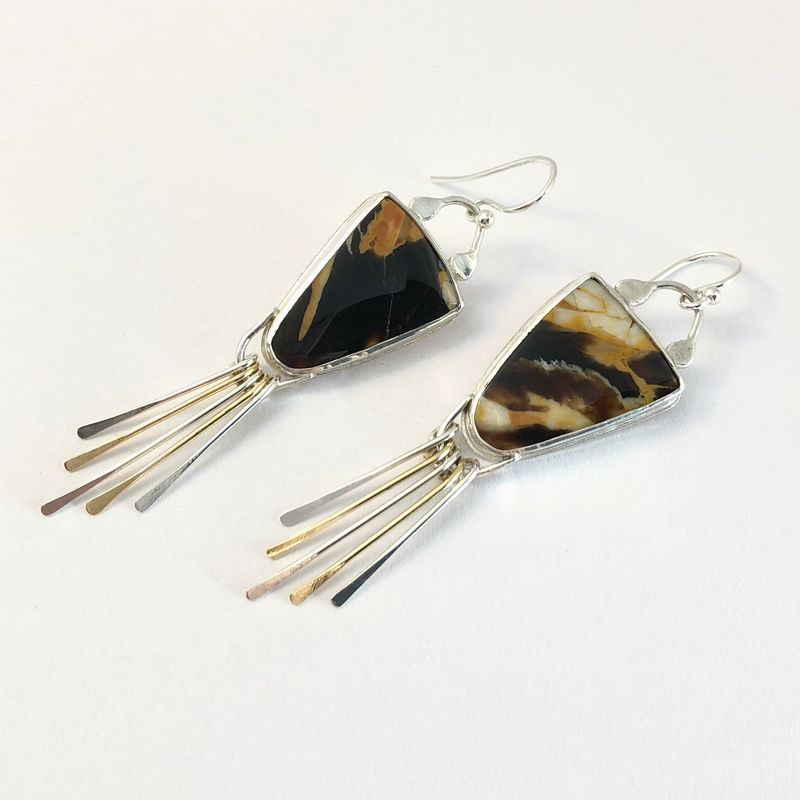 Petrified Wood Earrings, Sterling Silver and Peanut Wood with Fringe - product images  of