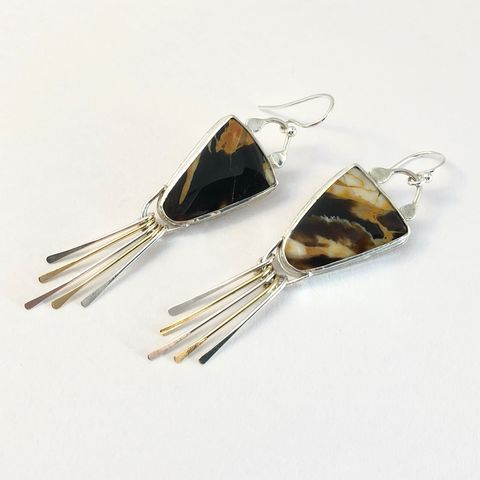Petrified,Wood,Earrings,,Sterling,Silver,and,Peanut,with,Fringe,petrified wood earrings, sterling silver fringe earrings, hand fabricated sterling stone earrings