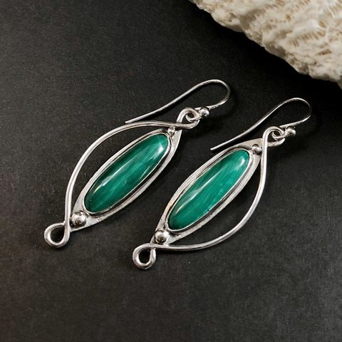 Sterling,Silver,Malachite,Earrings,,Hand,Fabricated,Green,Stone,Dangles,sterling silver malachite earrings, hand fabricated sterling silver earrings, green stone dangles