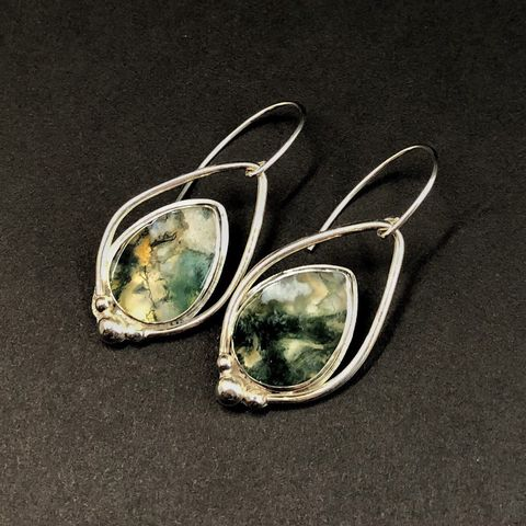 Moss,Agate,Earrings,,Sterling,Silver,Green,Stone,Dangles,moss agate earrings, hand fabricated sterling silver earrings, green stone dangles