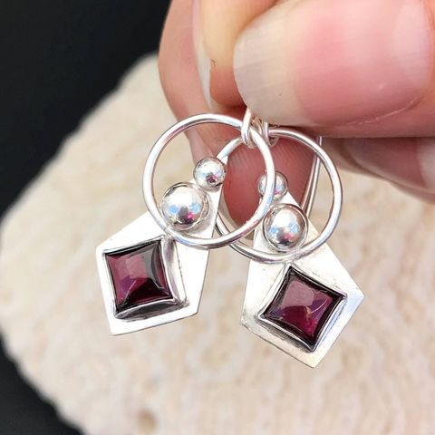 Cranberry,Red,Garnet,Earrings,Handcrafted,from,Sterling,Silver,,Artisan,Dangles,sterling silver Garnet earrings, artisan sterling dangles, cranberry red stone jewelry, hand fabricated garnet dangles