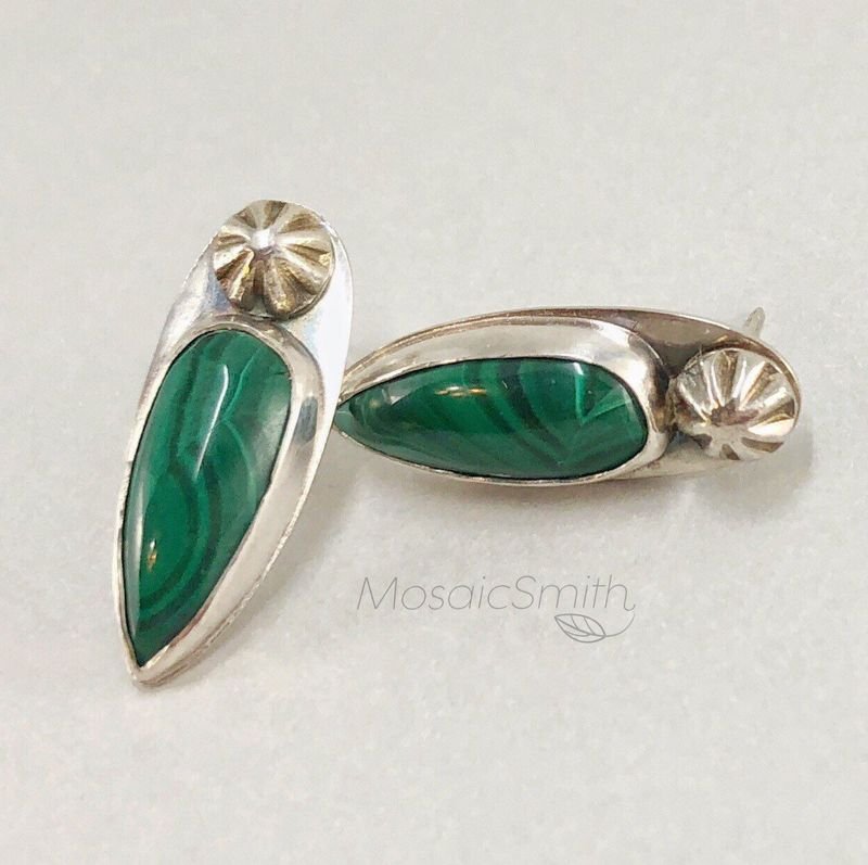 Malachite Earrings Deep Green Long Posts Sterling Silver - product images  of
