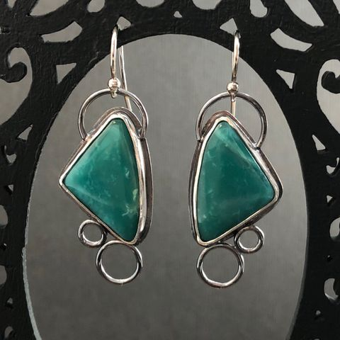 Green Variscite Earrings, Hand Fabricated Sterling Silver Modern Triangle Dangles - product images  of