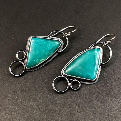 Green,Variscite,Earrings,,Hand,Fabricated,Sterling,Silver,Modern,Triangle,Dangles,green variscite earrings, modern triangle dangles, hand fabricated sterling silver earrings