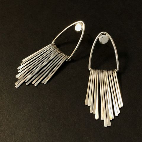 Sterling,Silver,Fringe,Earrings,,Geometric,Triangle,Design,with,Posts,sterling silver fringe earrings, geometric hippie earrings, long triangle post earrings