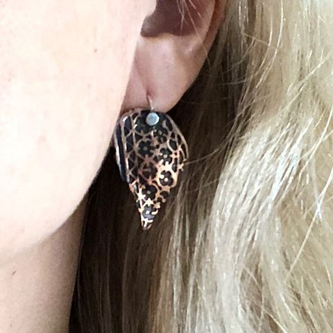 Flower Patterned Copper Leaf Earrings, Sterling Silver Ear Wires - product images  of
