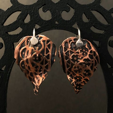 Flower,Patterned,Copper,Leaf,Earrings,,Sterling,Silver,Ear,Wires,patterned copper earrings, mixed metal dangles, boho leaf earrings