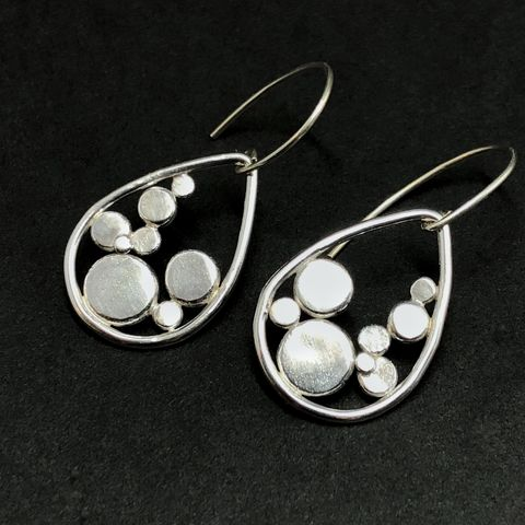 Sterling Silver Polka Dot Earrings, Hand Fabricated Teardrop Dangles - product images  of