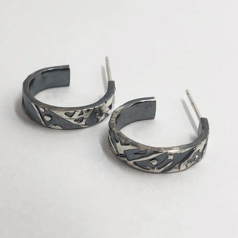 Small Black Patterned Sterling Silver Open Hoops - product images  of