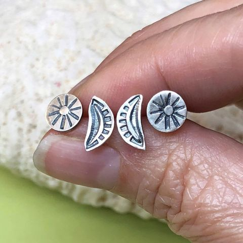 Flower and Leaf Studs, Set of Two Hand Stamped Sterling Silver Earrings - product images  of