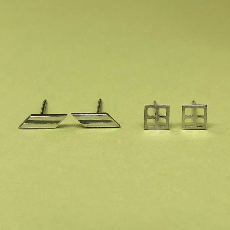 Set of Two Pair Geometric Studs, Sterling Silver Minimalist Jewelry - product images  of