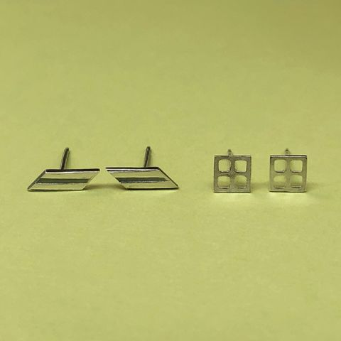Set,of,Two,Pair,Geometric,Studs,,Sterling,Silver,Minimalist,Jewelry,small geometric studs, sterling silver minimalist jewelry