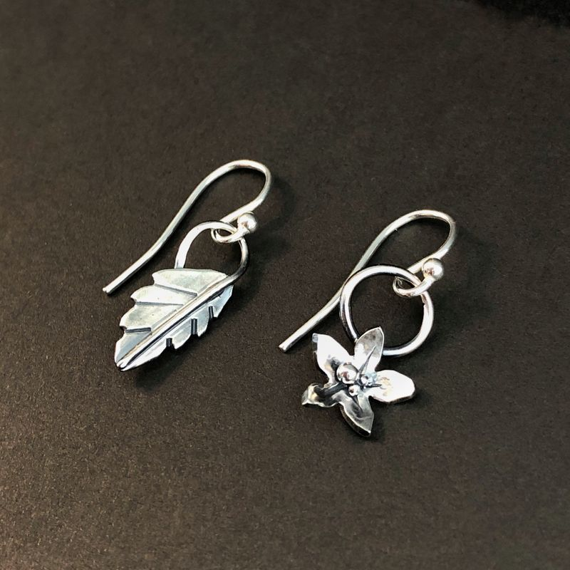 Mismatched Flower and Leaf Earrings, Hand Fabricated Sterling Silver Botanical Jewelry - product images  of