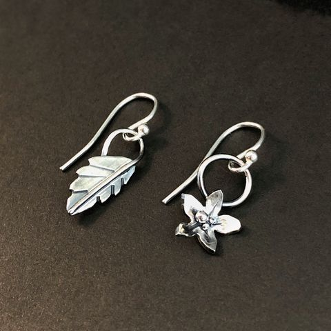 Mismatched,Flower,and,Leaf,Earrings,,Hand,Fabricated,Sterling,Silver,Botanical,Jewelry,mismatched flower earrings, hand fabricated botanical jewelry, sterling silver floral earrings