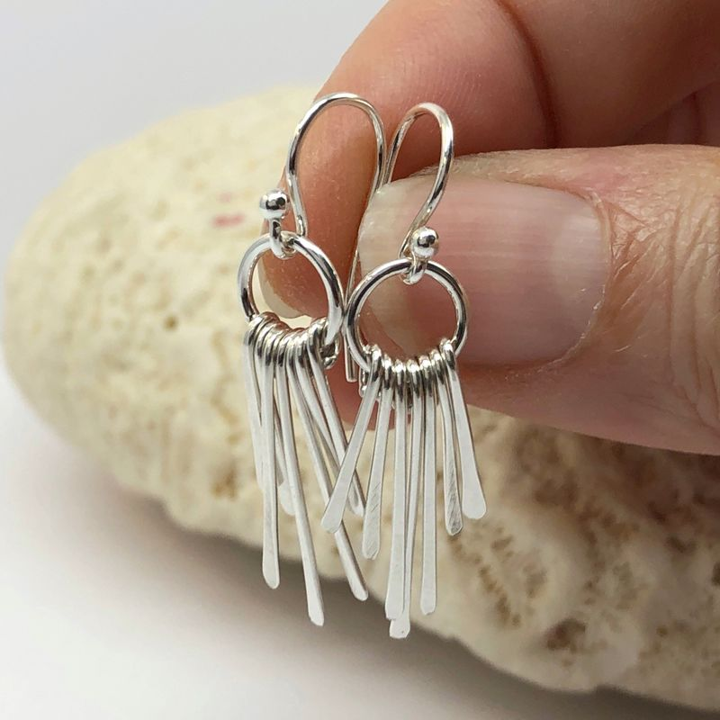 Sterling Silver Fringe Earrings, Lightweight Dangles - product images  of