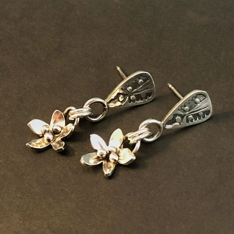 Hand Fabricated Sterling Silver Flower Dangles, Hand Stamped Posts - product images  of