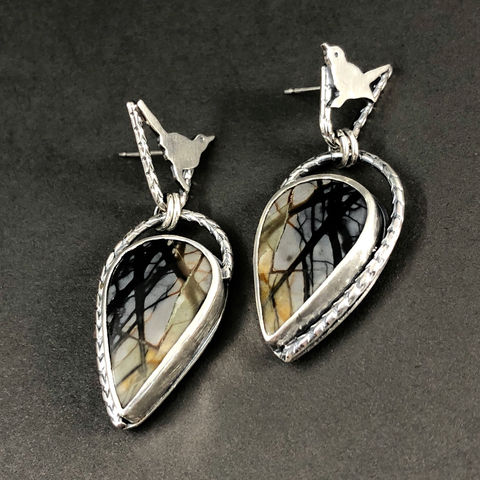 Bird,in,Tree,Earrings,Sterling,Silver,and,Picasso,Jasper,Dangles,sterling bird earrings, bird theme statement earrings, hand fabricated bird jewelry