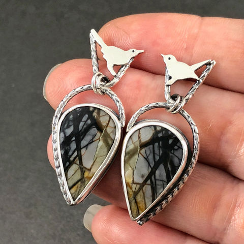 Bird in Tree Earrings Sterling Silver and Picasso Jasper Dangles - product images  of
