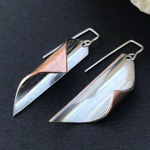 Long Mixed Metal Earrings, Copper and Sterling Silver, Contemporary Design - product images  of