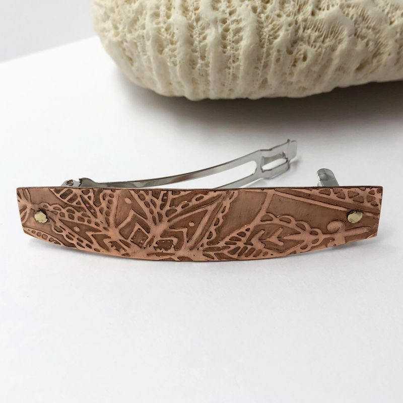 Copper Hair Barrette, Botanical Pattern with 70mm French Clip - product images  of