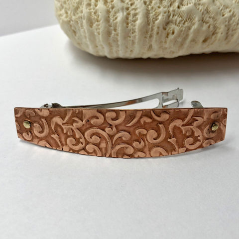 Solid,Copper,Medium,Barrette,,Swirl,Pattern,70mm,French,Clip,solid copper french barrette, medium copper barrette, patterned copper hair clip