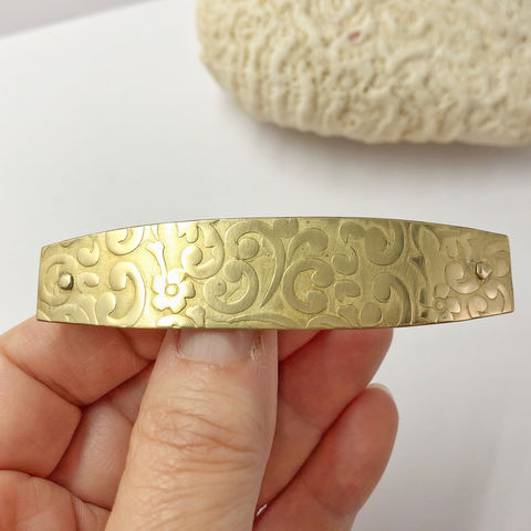 Solid Brass Barrette, Medium Size 70mm French Clip, Swirl Pattern - product images  of