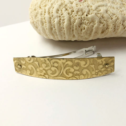 Solid,Brass,Barrette,,Medium,Size,70mm,French,Clip,,Swirl,Pattern,Solid Brass Barrette, Medium Size French Clip. Patterned Brass French Clip
