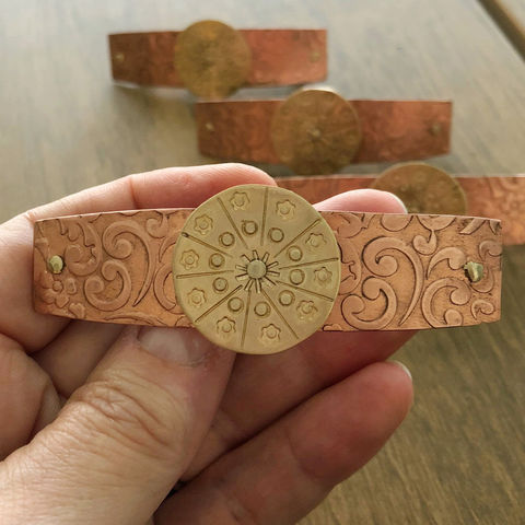 Copper and Brass Patterned Barrette, Medium French Clip 70mm - product images  of