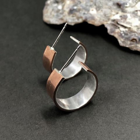 Small,Copper,Hoops,with,Sterling,Silver,Lining,silver lining hoops, copper sterling hoops, mixed metal earrings