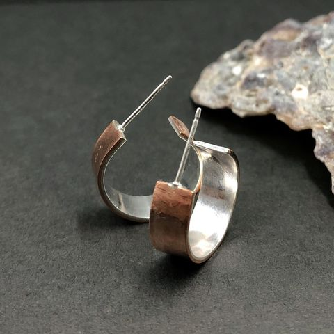 Small Copper Hoops with Sterling Silver Lining - product images  of
