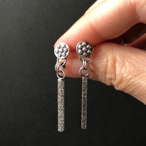 Botanical,Theme,Long,Sterling,Silver,Dangle,Earrings,,Flower,Posts,long botanical theme earrings, sterling silver stick earrings, flower stud dangles