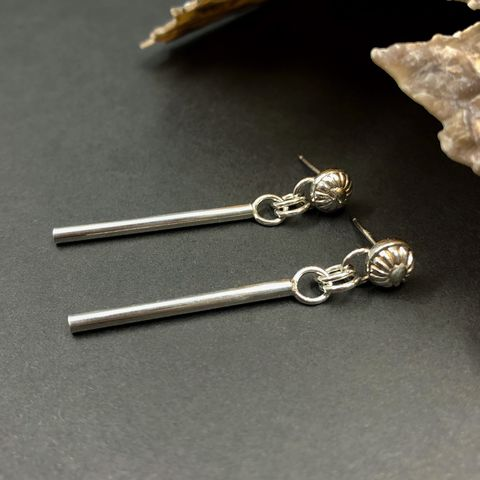 Floral,Stick,Earring,Dangles,,Sterling,Silver,floral stick earrings, hand fabricated bar earrings, sterling silver bar earrings
