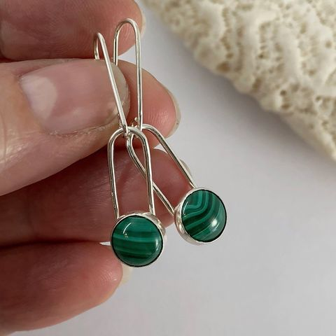 Minimalist,Malachite,Dangle,Earrings,,Sterling,Silver,malachite dangle earrings, minimalist green stone earrings, hand fabricated sterling earrings
